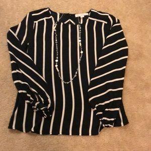 LOFT Black and Tan striped blouse S